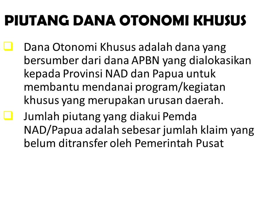 PIUTANG DANA OTONOMI KHUSUS  Dana Otonomi Khusus adalah dana yang bersumber dari dana APBN yang dialokasikan kepada Provinsi NAD dan Papua untuk memb