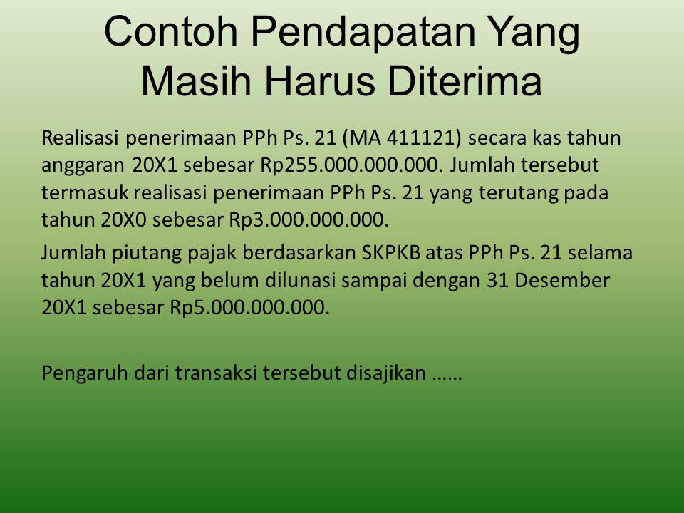 Contoh Pendapatan Yang Masih Harus Diterima Realisasi penerimaan PPh Ps. 21 (MA 411121) secara kas tahun anggaran 20X1 sebesar Rp255.000.000.000. Juml