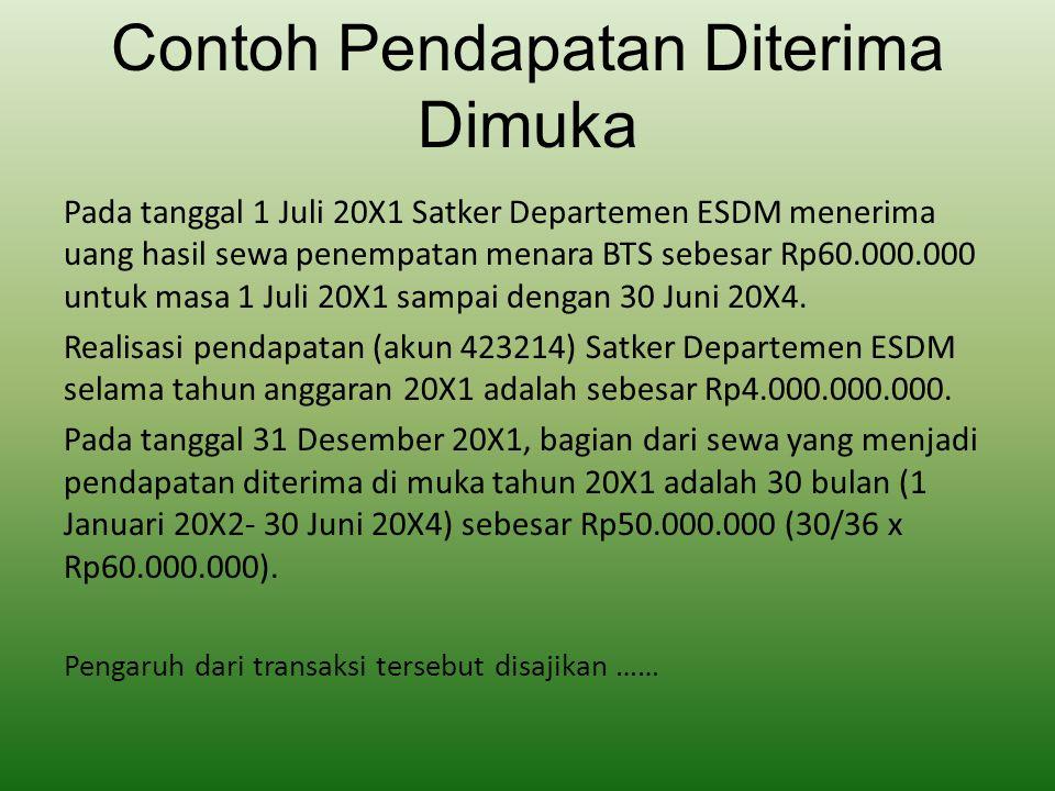 Contoh Pendapatan Diterima Dimuka Pada tanggal 1 Juli 20X1 Satker Departemen ESDM menerima uang hasil sewa penempatan menara BTS sebesar Rp60.000.000