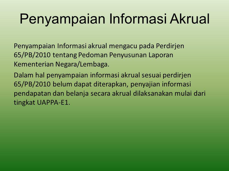 Penyampaian Informasi Akrual Penyampaian Informasi akrual mengacu pada Perdirjen 65/PB/2010 tentang Pedoman Penyusunan Laporan Kementerian Negara/Lemb