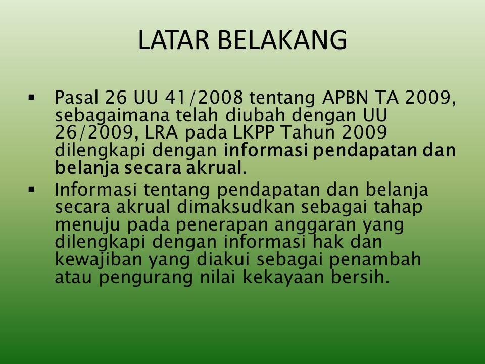 LATAR BELAKANG  Pasal 26 UU 41/2008 tentang APBN TA 2009, sebagaimana telah diubah dengan UU 26/2009, LRA pada LKPP Tahun 2009 dilengkapi dengan info