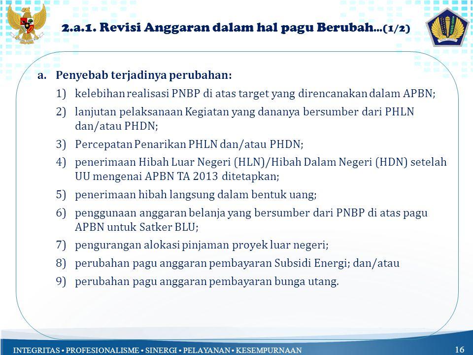 INTEGRITAS PROFESIONALISME SINERGI PELAYANAN KESEMPURNAAN 16 2.a.1.