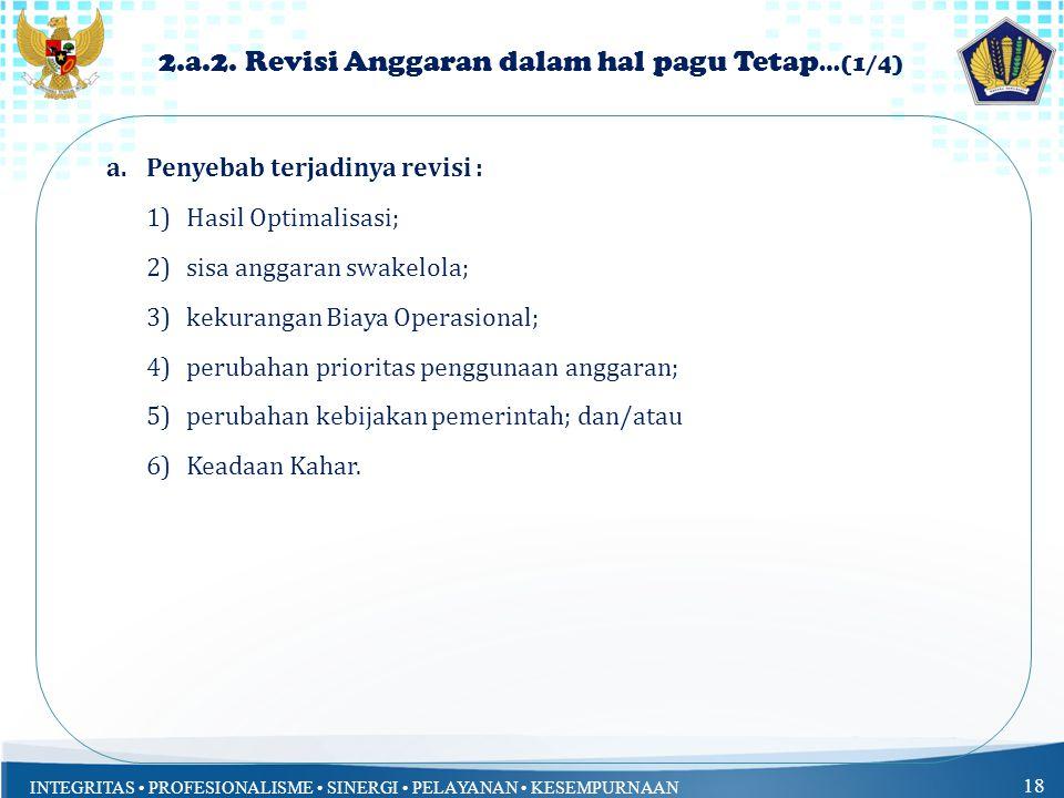 INTEGRITAS PROFESIONALISME SINERGI PELAYANAN KESEMPURNAAN 18 2.a.2.
