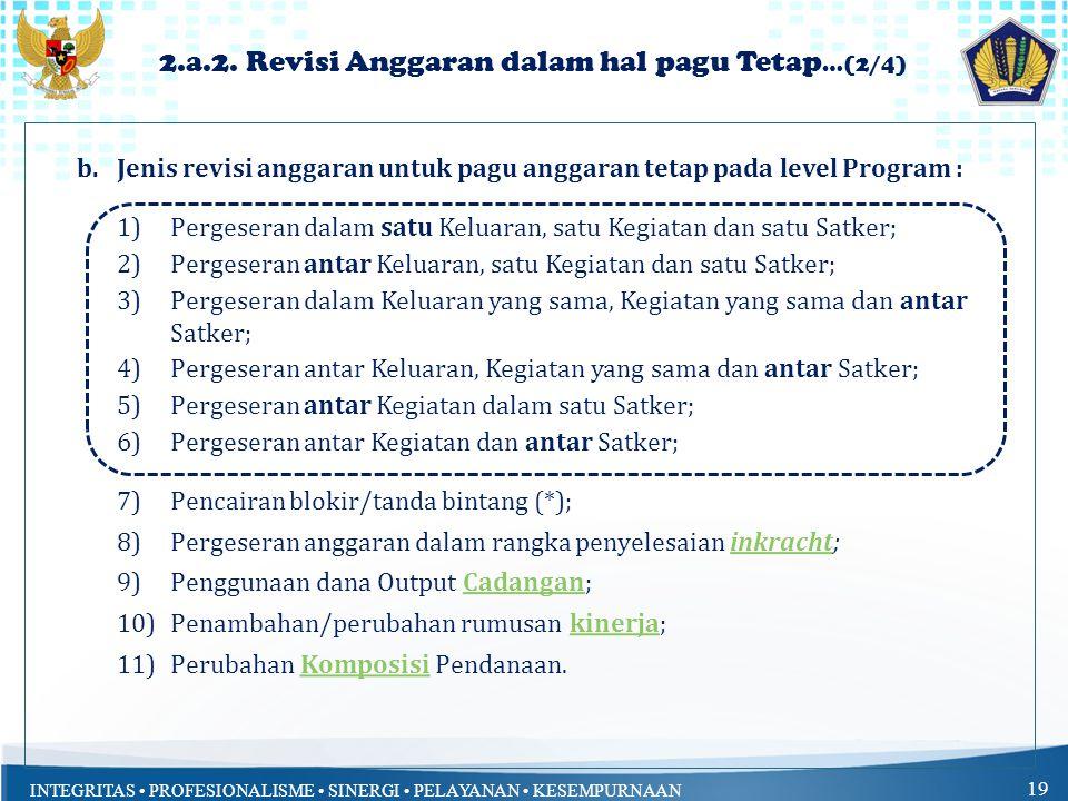 INTEGRITAS PROFESIONALISME SINERGI PELAYANAN KESEMPURNAAN 19 2.a.2.