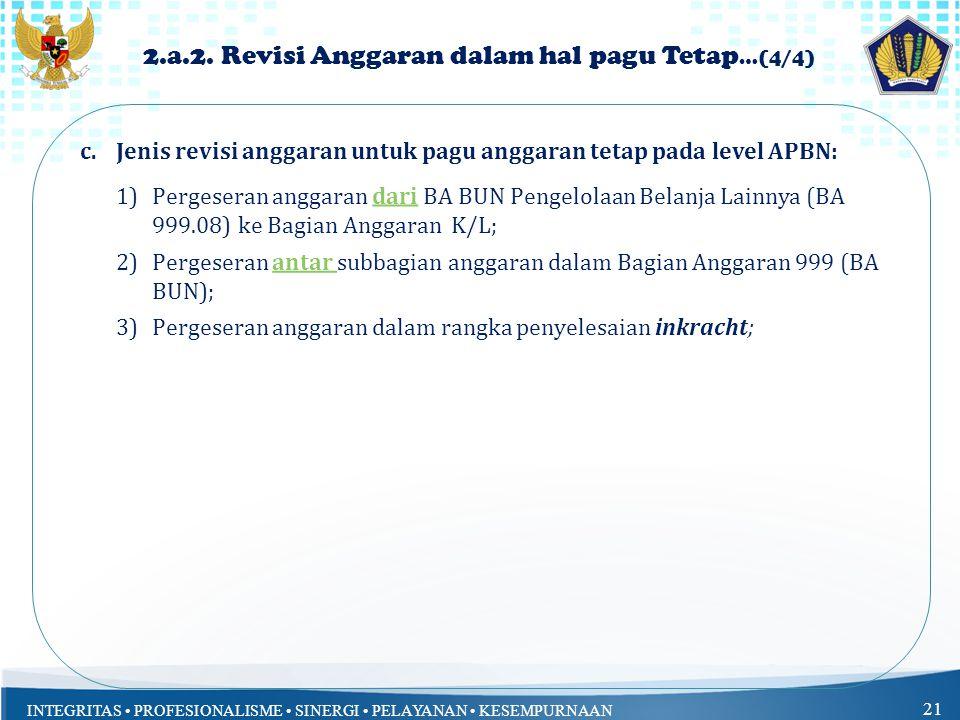 INTEGRITAS PROFESIONALISME SINERGI PELAYANAN KESEMPURNAAN 21 2.a.2.