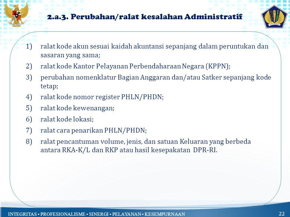 INTEGRITAS PROFESIONALISME SINERGI PELAYANAN KESEMPURNAAN 22 2.a.3.