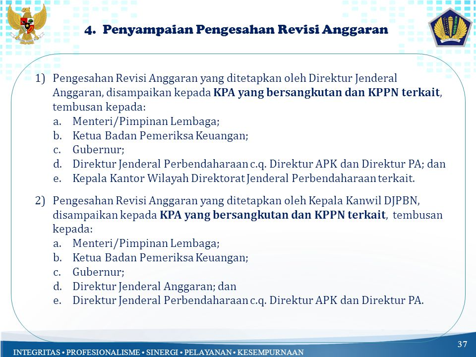 INTEGRITAS PROFESIONALISME SINERGI PELAYANAN KESEMPURNAAN 4.
