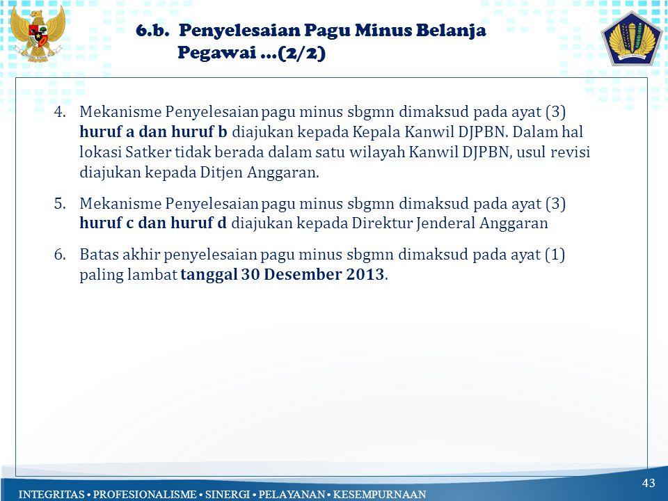 INTEGRITAS PROFESIONALISME SINERGI PELAYANAN KESEMPURNAAN 43 4.Mekanisme Penyelesaian pagu minus sbgmn dimaksud pada ayat (3) huruf a dan huruf b diajukan kepada Kepala Kanwil DJPBN.