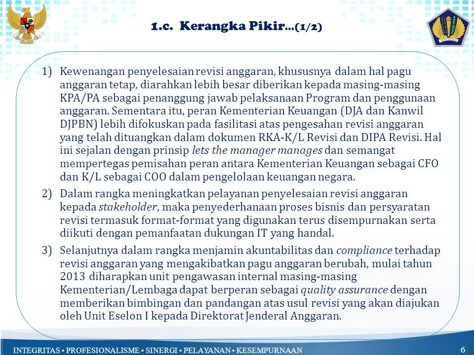 INTEGRITAS PROFESIONALISME SINERGI PELAYANAN KESEMPURNAAN 6 1.c.