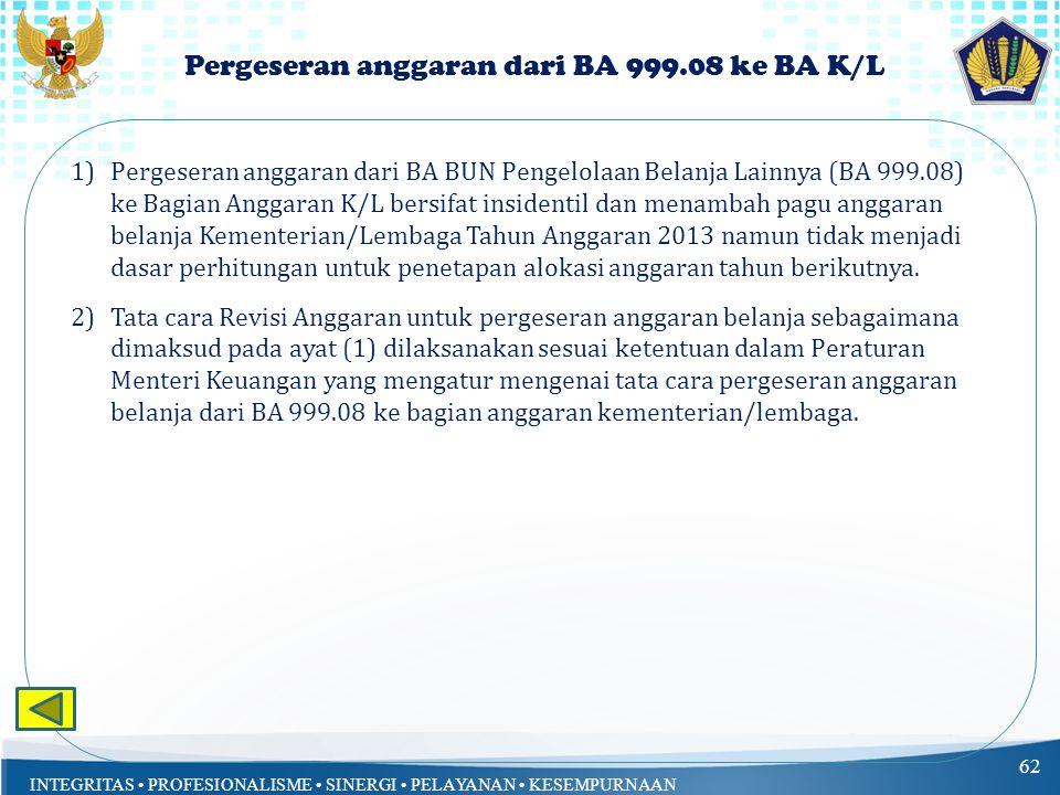 INTEGRITAS PROFESIONALISME SINERGI PELAYANAN KESEMPURNAAN Pergeseran anggaran dari BA 999.08 ke BA K/L 62 1)Pergeseran anggaran dari BA BUN Pengelolaan Belanja Lainnya (BA 999.08) ke Bagian Anggaran K/L bersifat insidentil dan menambah pagu anggaran belanja Kementerian/Lembaga Tahun Anggaran 2013 namun tidak menjadi dasar perhitungan untuk penetapan alokasi anggaran tahun berikutnya.