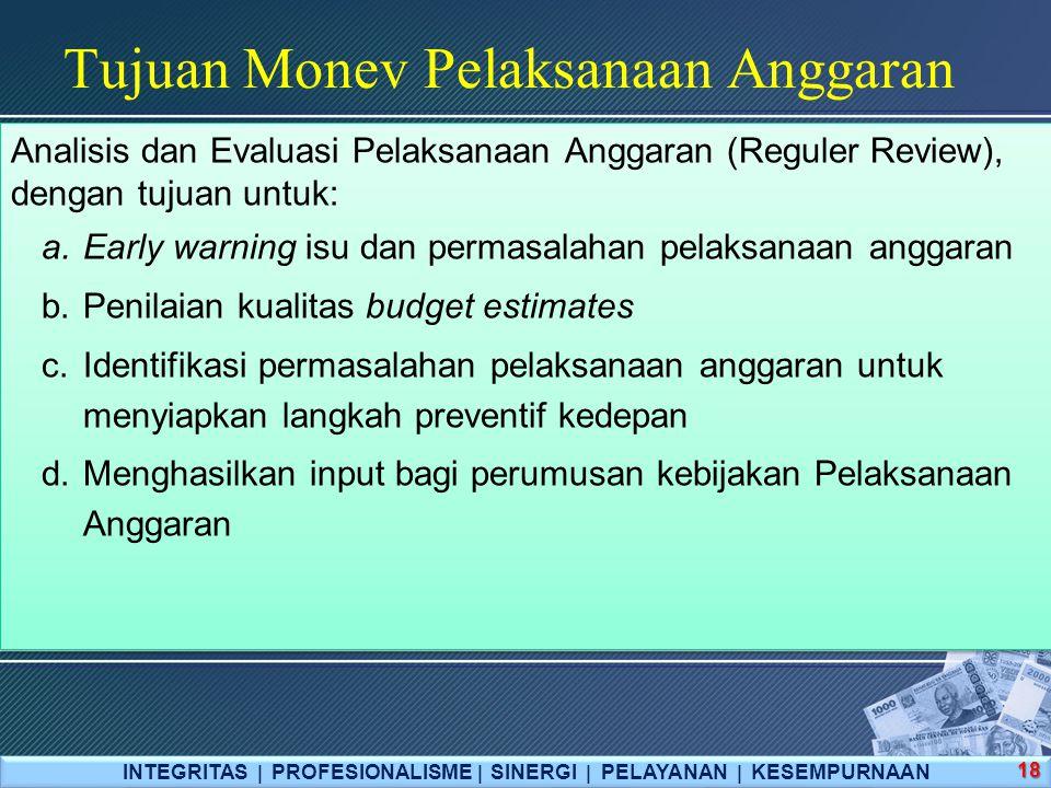 Tujuan Monev Pelaksanaan Anggaran INTEGRITAS  PROFESIONALISME  SINERGI  PELAYANAN  KESEMPURNAAN 18 Analisis dan Evaluasi Pelaksanaan Anggaran (Reguler Review), dengan tujuan untuk: a.Early warning isu dan permasalahan pelaksanaan anggaran b.Penilaian kualitas budget estimates c.Identifikasi permasalahan pelaksanaan anggaran untuk menyiapkan langkah preventif kedepan d.Menghasilkan input bagi perumusan kebijakan Pelaksanaan Anggaran Analisis dan Evaluasi Pelaksanaan Anggaran (Reguler Review), dengan tujuan untuk: a.Early warning isu dan permasalahan pelaksanaan anggaran b.Penilaian kualitas budget estimates c.Identifikasi permasalahan pelaksanaan anggaran untuk menyiapkan langkah preventif kedepan d.Menghasilkan input bagi perumusan kebijakan Pelaksanaan Anggaran