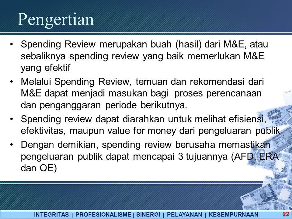 Pengertian INTEGRITAS  PROFESIONALISME  SINERGI  PELAYANAN  KESEMPURNAAN 22 Spending Review merupakan buah (hasil) dari M&E, atau sebaliknya spend
