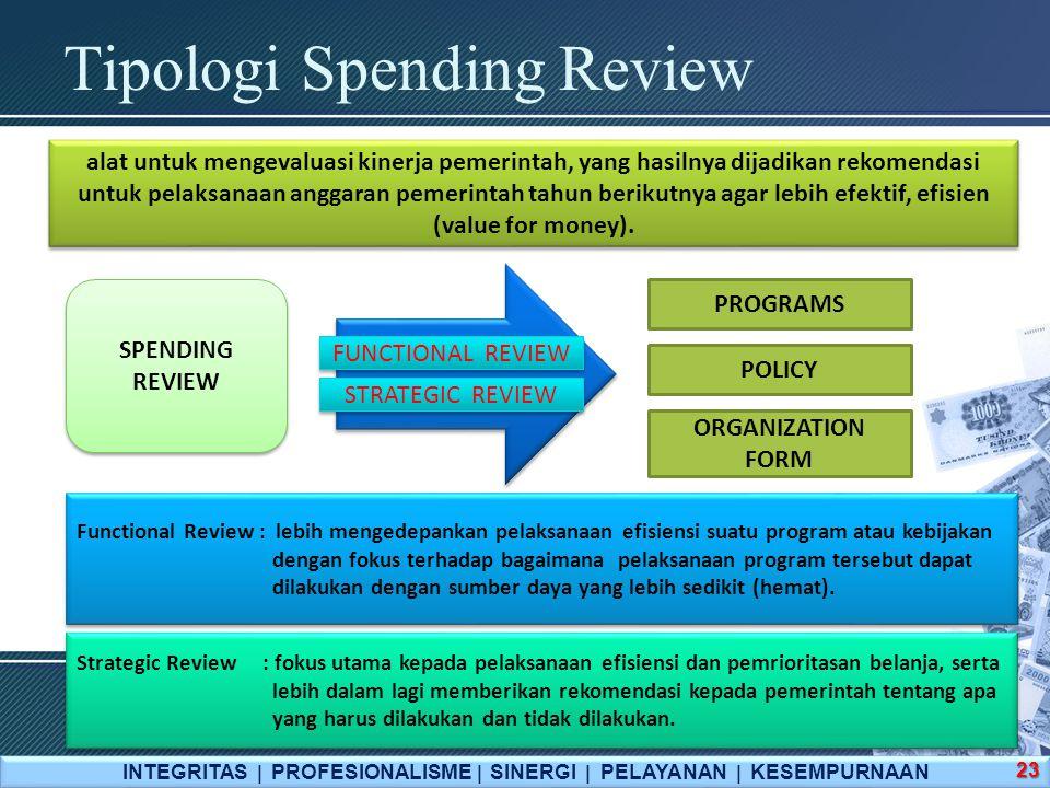 Tipologi Spending Review INTEGRITAS  PROFESIONALISME  SINERGI  PELAYANAN  KESEMPURNAAN 23 SPENDING REVIEW SPENDING REVIEW alat untuk mengevaluasi