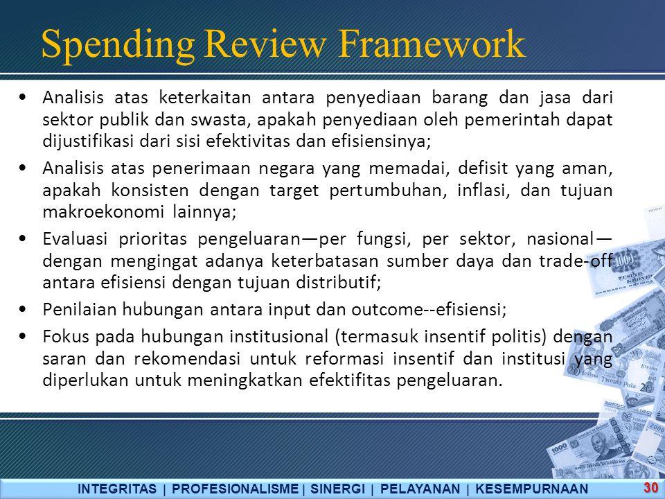 Spending Review Framework INTEGRITAS  PROFESIONALISME  SINERGI  PELAYANAN  KESEMPURNAAN 30 Analisis atas keterkaitan antara penyediaan barang dan