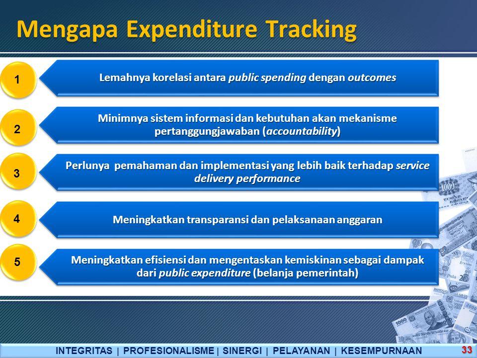 INTEGRITAS  PROFESIONALISME  SINERGI  PELAYANAN  KESEMPURNAAN 33 Mengapa Expenditure Tracking Lemahnya korelasi antara public spending dengan outcomes Minimnya sistem informasi dan kebutuhan akan mekanisme pertanggungjawaban (accountability) Perlunya pemahaman dan implementasi yang lebih baik terhadap service delivery performance Meningkatkan transparansi dan pelaksanaan anggaran Meningkatkan efisiensi dan mengentaskan kemiskinan sebagai dampak dari public expenditure (belanja pemerintah) 1 2 3 4 5