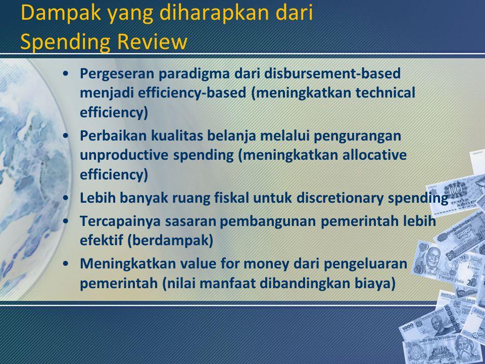 Dampak yang diharapkan dari Spending Review Pergeseran paradigma dari disbursement-based menjadi efficiency-based (meningkatkan technical efficiency)