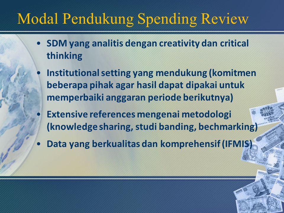 Modal Pendukung Spending Review SDM yang analitis dengan creativity dan critical thinking Institutional setting yang mendukung (komitmen beberapa pihak agar hasil dapat dipakai untuk memperbaiki anggaran periode berikutnya) Extensive references mengenai metodologi (knowledge sharing, studi banding, bechmarking) Data yang berkualitas dan komprehensif (IFMIS)