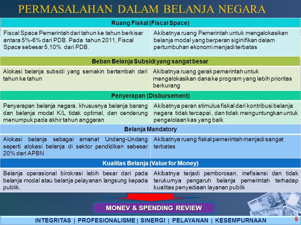 Spending Review Framework INTEGRITAS  PROFESIONALISME  SINERGI  PELAYANAN  KESEMPURNAAN 30 Analisis atas keterkaitan antara penyediaan barang dan jasa dari sektor publik dan swasta, apakah penyediaan oleh pemerintah dapat dijustifikasi dari sisi efektivitas dan efisiensinya; Analisis atas penerimaan negara yang memadai, defisit yang aman, apakah konsisten dengan target pertumbuhan, inflasi, dan tujuan makroekonomi lainnya; Evaluasi prioritas pengeluaran—per fungsi, per sektor, nasional— dengan mengingat adanya keterbatasan sumber daya dan trade-off antara efisiensi dengan tujuan distributif; Penilaian hubungan antara input dan outcome--efisiensi; Fokus pada hubungan institusional (termasuk insentif politis) dengan saran dan rekomendasi untuk reformasi insentif dan institusi yang diperlukan untuk meningkatkan efektifitas pengeluaran.