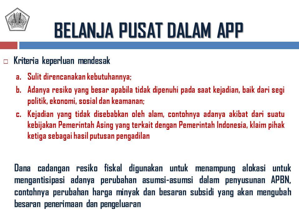 BELANJA PUSAT DALAM APP  Kriteria keperluan mendesak a.Sulit direncanakan kebutuhannya; b.Adanya resiko yang besar apabila tidak dipenuhi pada saat kejadian, baik dari segi politik, ekonomi, sosial dan keamanan; c.Kejadian yang tidak disebabkan oleh alam, contohnya adanya akibat dari suatu kebijakan Pemerintah Asing yang terkait dengan Pemerintah Indonesia, klaim pihak ketiga sebagai hasil putusan pengadilan Dana cadangan resiko fiskal digunakan untuk menampung alokasi untuk mengantisipasi adanya perubahan asumsi-asumsi dalam penyusunan APBN, contohnya perubahan harga minyak dan besaran subsidi yang akan mengubah besaran penerimaan dan pengeluaran
