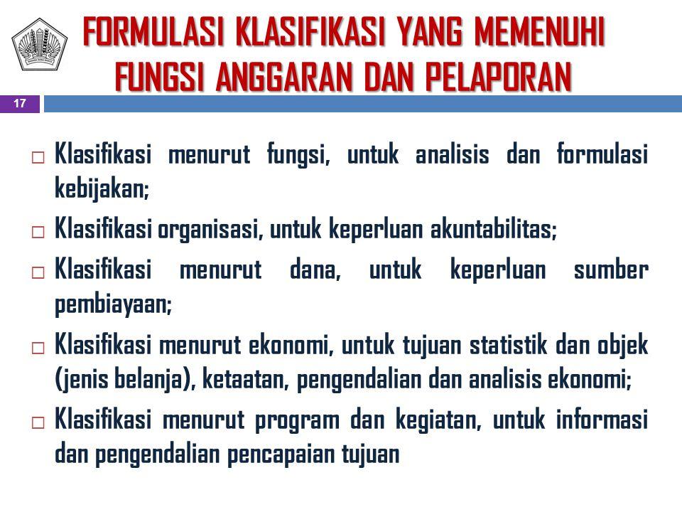 FORMULASI KLASIFIKASI YANG MEMENUHI FUNGSI ANGGARAN DAN PELAPORAN  Klasifikasi menurut fungsi, untuk analisis dan formulasi kebijakan;  Klasifikasi