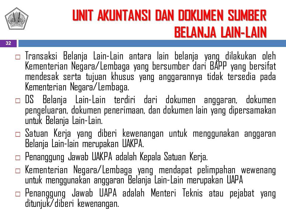  Transaksi Belanja Lain-Lain antara lain belanja yang dilakukan oleh Kementerian Negara/Lembaga yang bersumber dari BAPP yang bersifat mendesak serta