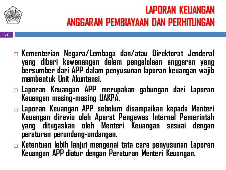 LAPORAN KEUANGAN ANGGARAN PEMBIAYAAN DAN PERHITUNGAN  Kementerian Negara/Lembaga dan/atau Direktorat Jenderal yang diberi kewenangan dalam pengelolaa