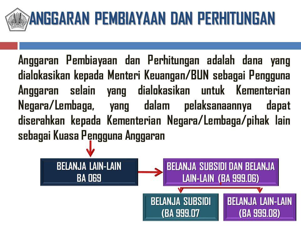 ANGGARAN PEMBIAYAAN DAN PERHITUNGAN Anggaran Pembiayaan dan Perhitungan adalah dana yang dialokasikan kepada Menteri Keuangan/BUN sebagai Pengguna Ang