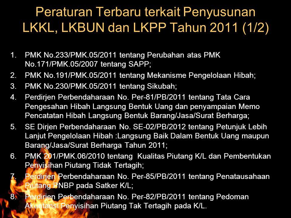 Peraturan Terbaru terkait Penyusunan LKKL, LKBUN dan LKPP Tahun 2011 (1/2) 1.PMK No.233/PMK.05/2011 tentang Perubahan atas PMK No.171/PMK.05/2007 tent