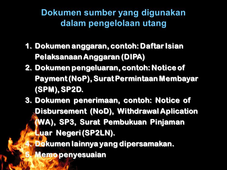 Dokumen sumber yang digunakan dalam pengelolaan utang 1.Dokumen anggaran, contoh: Daftar Isian Pelaksanaan Anggaran (DIPA) 2.Dokumen pengeluaran, cont
