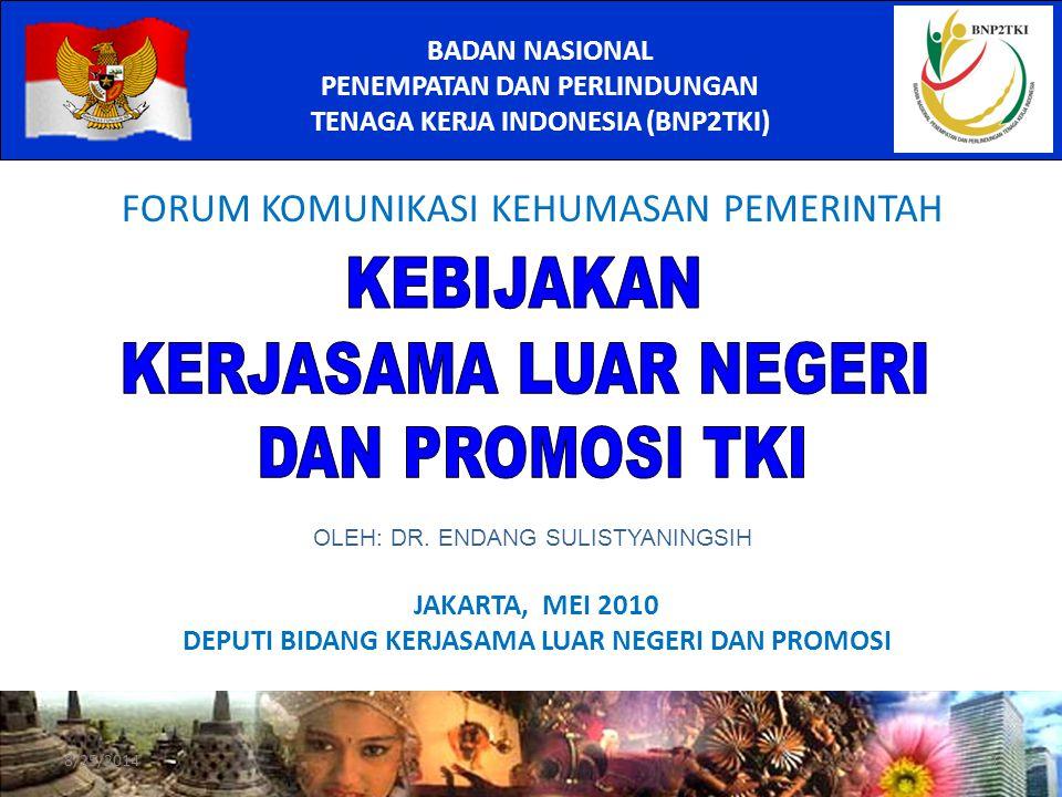 JAKARTA, MEI 2010 DEPUTI BIDANG KERJASAMA LUAR NEGERI DAN PROMOSI BADAN NASIONAL PENEMPATAN DAN PERLINDUNGAN TENAGA KERJA INDONESIA (BNP2TKI) FORUM KOMUNIKASI KEHUMASAN PEMERINTAH 8/25/20141 OLEH: DR.