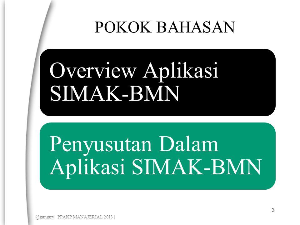 POKOK BAHASAN Overview Aplikasi SIMAK-BMN Penyusutan Dalam Aplikasi SIMAK-BMN 2 @gungtry| PPAKP MANAJERIAL 2013 |