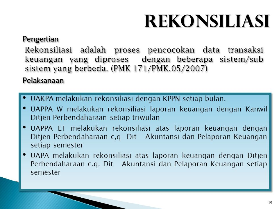 15 UAKPA melakukan rekonsiliasi dengan KPPN setiap bulan. UAPPA W melakukan rekonsiliasi laporan keuangan dengan Kanwil Ditjen Perbendaharaan setiap t