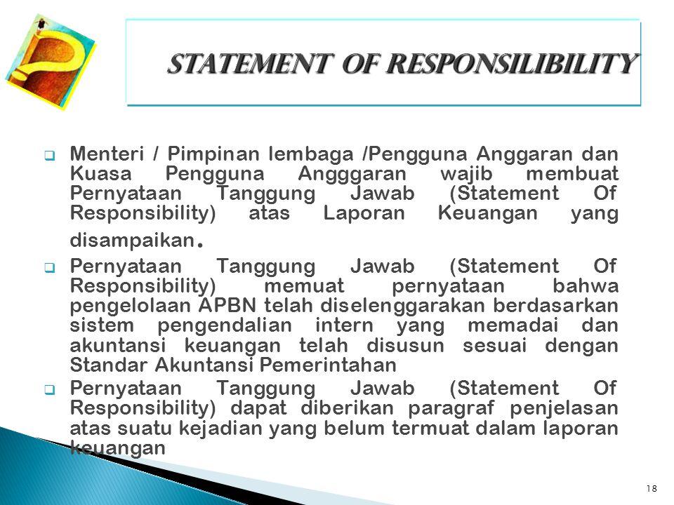 18  Menteri / Pimpinan lembaga /Pengguna Anggaran dan Kuasa Pengguna Angggaran wajib membuat Pernyataan Tanggung Jawab (Statement Of Responsibility)