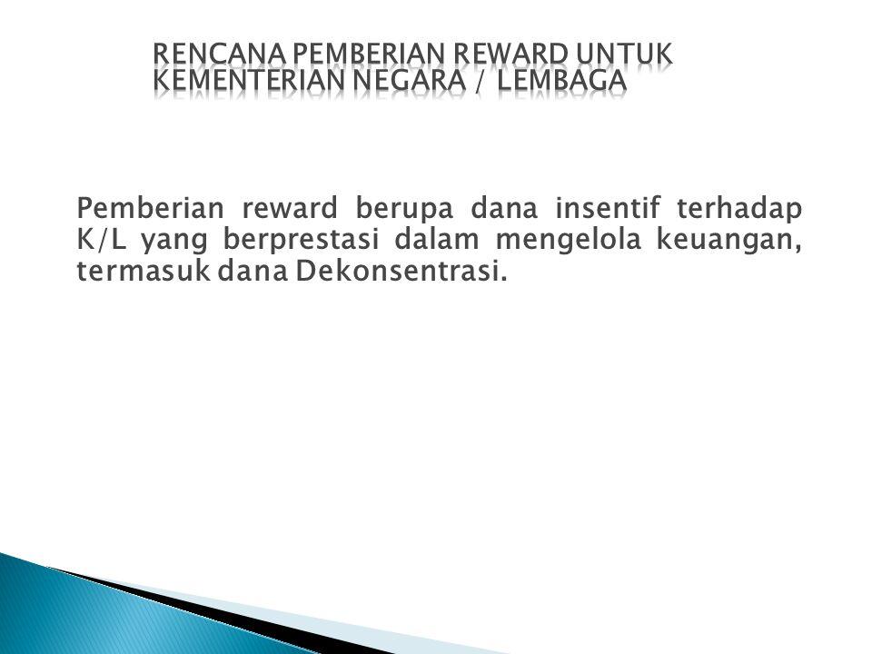 Pemberian reward berupa dana insentif terhadap K/L yang berprestasi dalam mengelola keuangan, termasuk dana Dekonsentrasi.