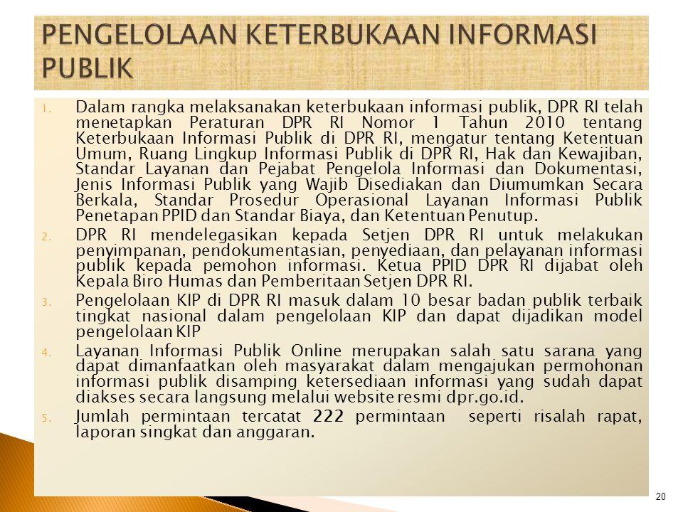 1. Dalam rangka melaksanakan keterbukaan informasi publik, DPR RI telah menetapkan Peraturan DPR RI Nomor 1 Tahun 2010 tentang Keterbukaan Informasi P