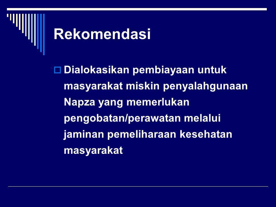 Rekomendasi  Dialokasikan pembiayaan untuk masyarakat miskin penyalahgunaan Napza yang memerlukan pengobatan/perawatan melalui jaminan pemeliharaan kesehatan masyarakat