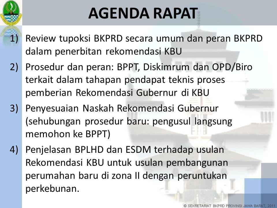 AGENDA RAPAT 1)Review tupoksi BKPRD secara umum dan peran BKPRD dalam penerbitan rekomendasi KBU 2)Prosedur dan peran: BPPT, Diskimrum dan OPD/Biro te