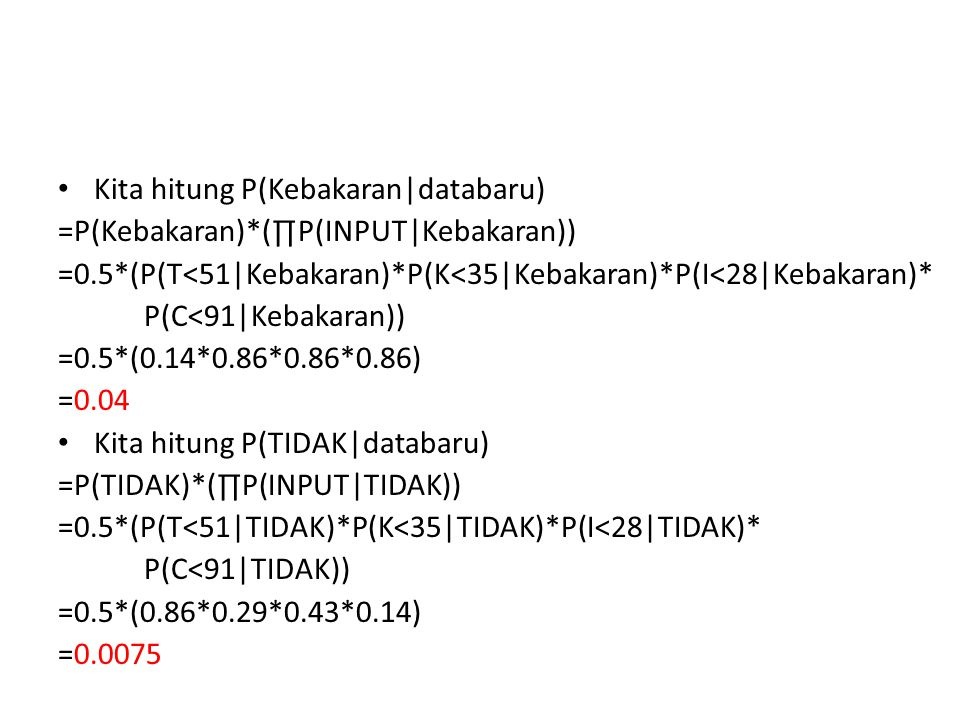 Kita hitung P(Kebakaran databaru) =P(Kebakaran)*(∏P(INPUT Kebakaran)) =0.5*(P(T<51 Kebakaran)*P(K<35 Kebakaran)*P(I<28 Kebakaran)* P(C<91 Kebakaran)) =0.5*(0.14*0.86*0.86*0.86) =0.04 Kita hitung P(TIDAK databaru) =P(TIDAK)*(∏P(INPUT TIDAK)) =0.5*(P(T<51 TIDAK)*P(K<35 TIDAK)*P(I<28 TIDAK)* P(C<91 TIDAK)) =0.5*(0.86*0.29*0.43*0.14) =0.0075