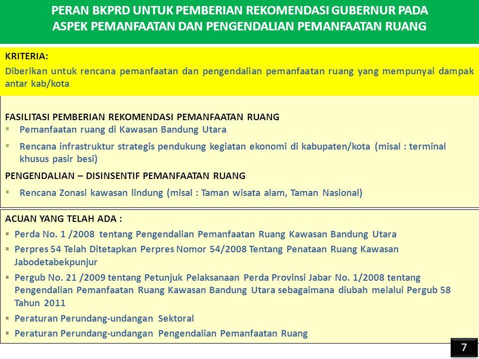 PERAN BKPRD UNTUK PEMBERIAN REKOMENDASI GUBERNUR PADA ASPEK PEMANFAATAN DAN PENGENDALIAN PEMANFAATAN RUANG FASILITASI PEMBERIAN REKOMENDASI PEMANFAATAN RUANG  Pemanfaatan ruang di Kawasan Bandung Utara  Rencana infrastruktur strategis pendukung kegiatan ekonomi di kabupaten/kota (misal : terminal khusus pasir besi) PENGENDALIAN – DISINSENTIF PEMANFAATAN RUANG  Rencana Zonasi kawasan lindung (misal : Taman wisata alam, Taman Nasional) ACUAN YANG TELAH ADA :  Perda No.