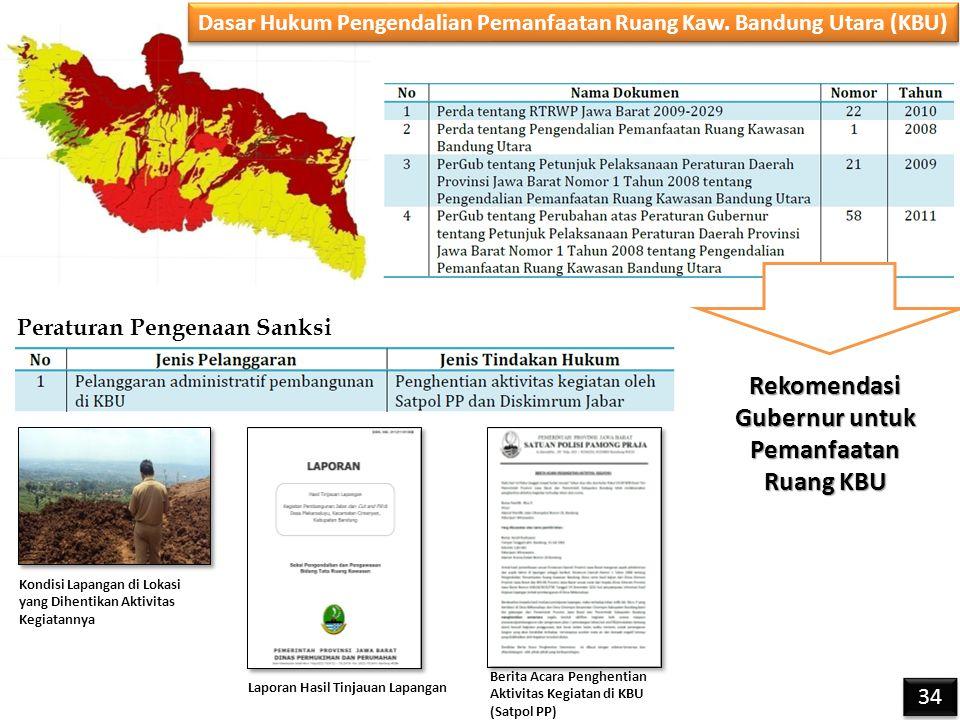 Dasar Hukum Pengendalian Pemanfaatan Ruang Kaw. Bandung Utara (KBU) Peraturan Pengenaan Sanksi Kondisi Lapangan di Lokasi yang Dihentikan Aktivitas Ke