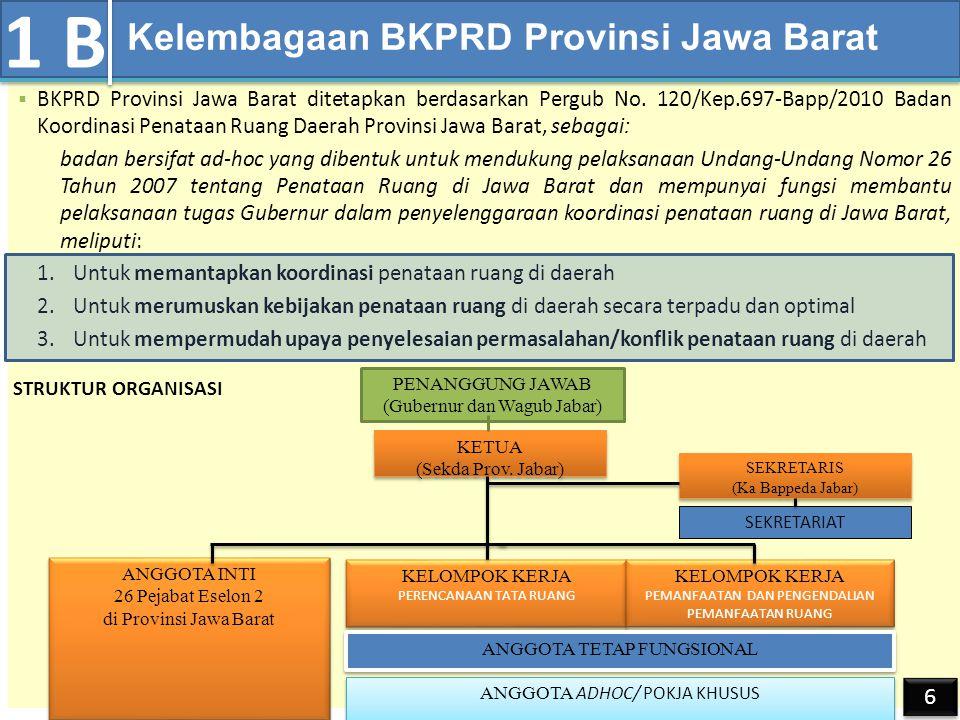 Koordinasi Pengendalian Pemanfaatan Ruang: Peran BKPRD Provinsi Jawa Barat  BKPRD Provinsi Jawa Barat ditetapkan berdasarkan Pergub No.