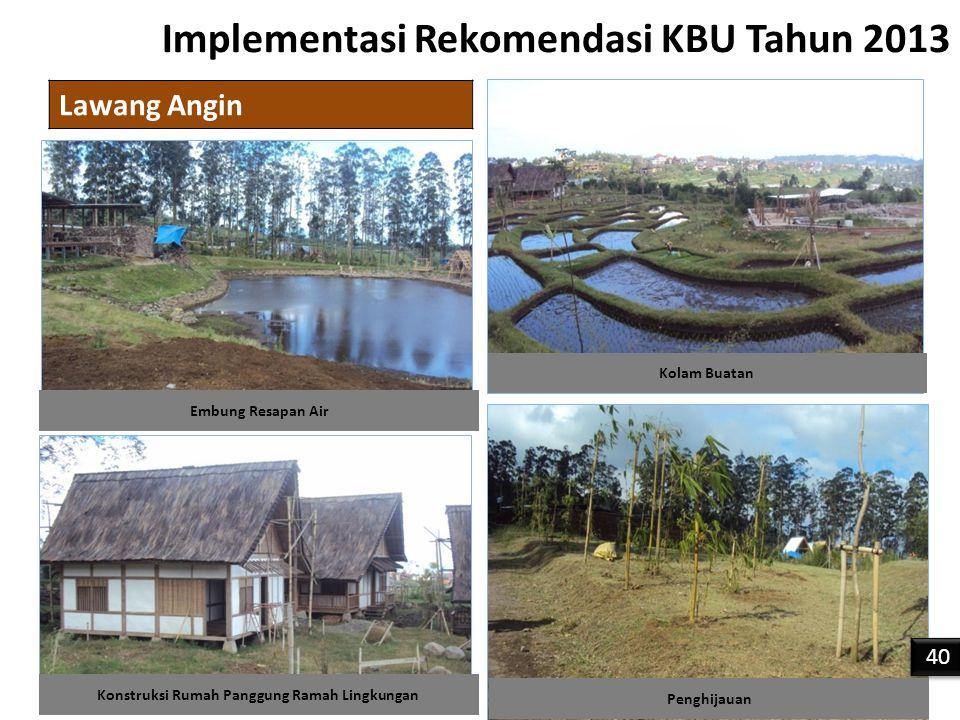 Implementasi Rekomendasi KBU Tahun 2013 Lawang Angin 40 Konstruksi Rumah Panggung Ramah Lingkungan Kolam Buatan Embung Resapan Air Penghijauan