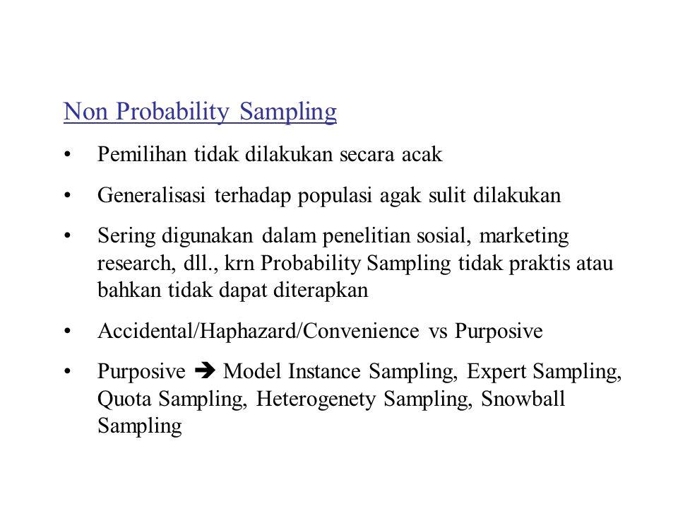 Non Probability Sampling Pemilihan tidak dilakukan secara acak Generalisasi terhadap populasi agak sulit dilakukan Sering digunakan dalam penelitian sosial, marketing research, dll., krn Probability Sampling tidak praktis atau bahkan tidak dapat diterapkan Accidental/Haphazard/Convenience vs Purposive Purposive  Model Instance Sampling, Expert Sampling, Quota Sampling, Heterogenety Sampling, Snowball Sampling