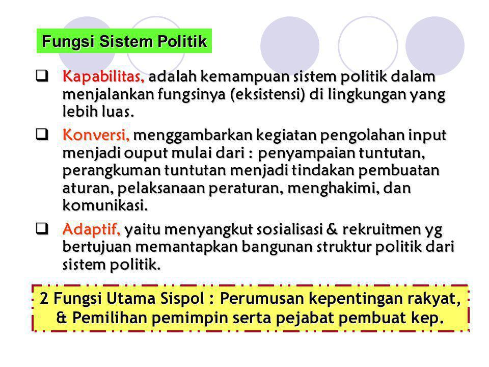  Kapabilitas, adalah kemampuan sistem politik dalam menjalankan fungsinya (eksistensi) di lingkungan yang lebih luas.  Konversi, menggambarkan kegia