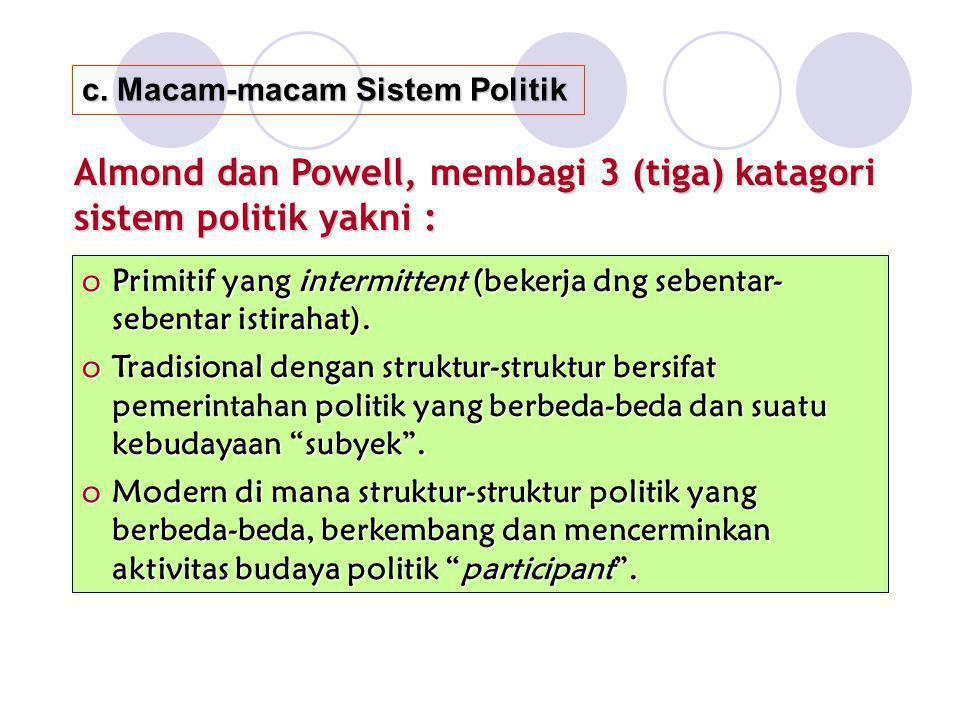 c. Macam-macam Sistem Politik Almond dan Powell, membagi 3 (tiga) katagori sistem politik yakni : oPrimitif yang intermittent (bekerja dng sebentar- s
