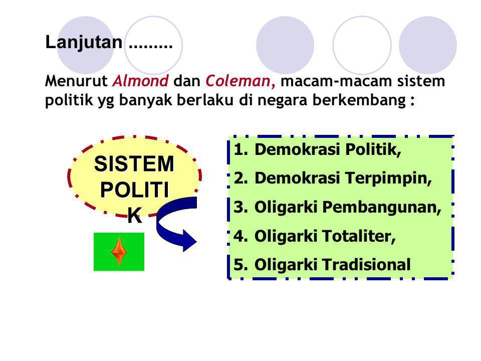 Lanjutan......... Menurut Almond dan Coleman, macam-macam sistem politik yg banyak berlaku di negara berkembang : 1.Demokrasi Politik, 2.Demokrasi Ter