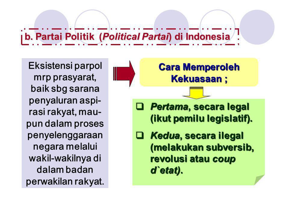 b.Partai Politik (Political Partai) di Indonesia Eksistensi parpol mrp prasyarat, baik sbg sarana penyaluran aspi- rasi rakyat, mau- pun dalam proses
