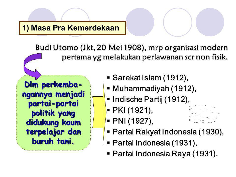 1)Masa Pra Kemerdekaan Budi Utomo (Jkt, 20 Mei 1908), mrp organisasi modern pertama yg melakukan perlawanan scr non fisik. Dlm perkemba- ngannya menja