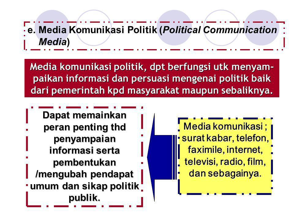 e.Media Komunikasi Politik (Political Communication Media) Media komunikasi politik, dpt berfungsi utk menyam- paikan informasi dan persuasi mengenai