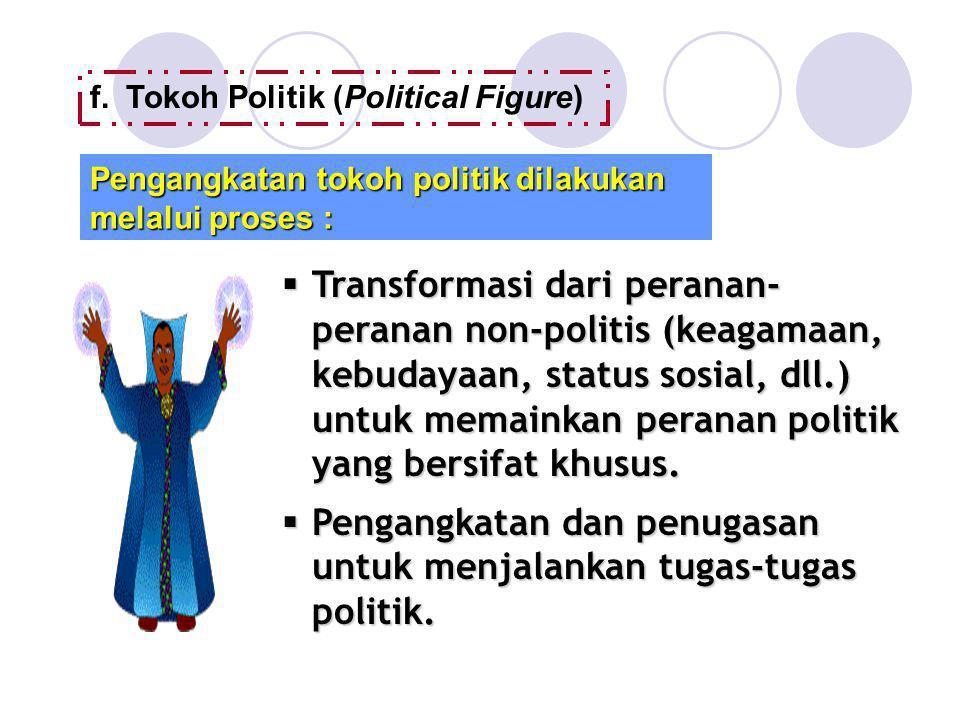 f.Tokoh Politik (Political Figure) Pengangkatan tokoh politik dilakukan melalui proses :  Transformasi dari peranan- peranan non-politis (keagamaan,